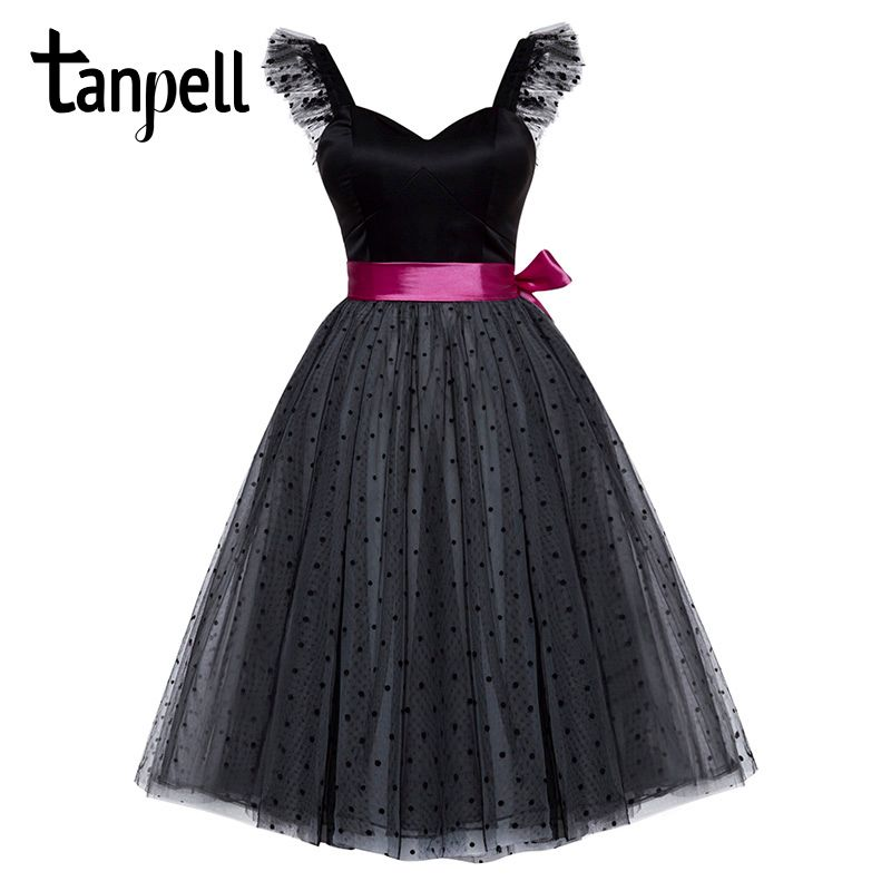 Tanpell short homecoming dress black sleeveless knee length a line dresses women sweetheart neck sashes party homecoming gown