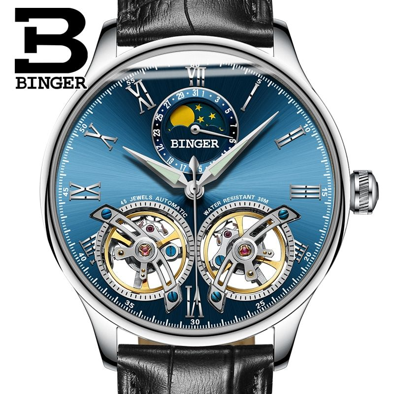 2017 Switzerland Mechanical Men Watches Binger Role Luxury Brand Skeleton Wrist Sapphire Waterproof Watch Men Clock Male8