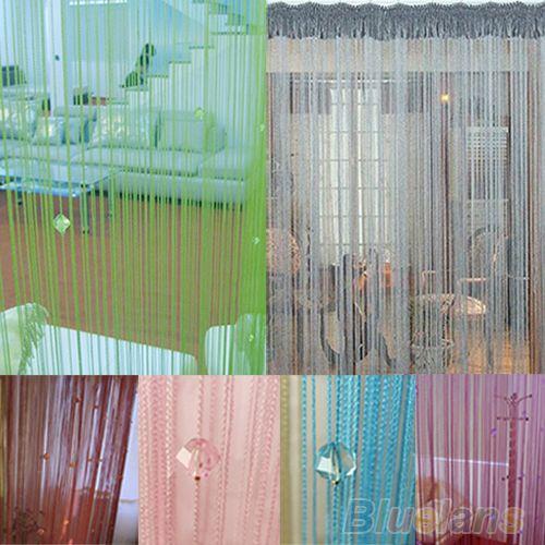 2016 heißer Verkauf String Fliegengitter Teiler Zimmer Fenster Decor DIY Blinden Tassel Drapieren + 40 stücke perlen BQ14