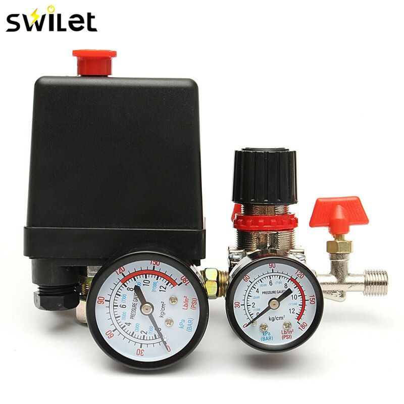 120psi Air Compressor Pressure Valve Switch Manifold Relief Regulator Gauges Lighting Accessories Switches