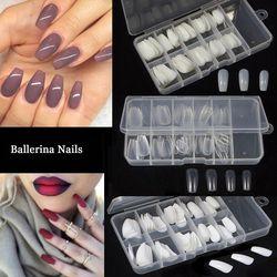100pcs+Box Ballerina Coffin Nail Tips Artificial False Fake Nails DIY Salon