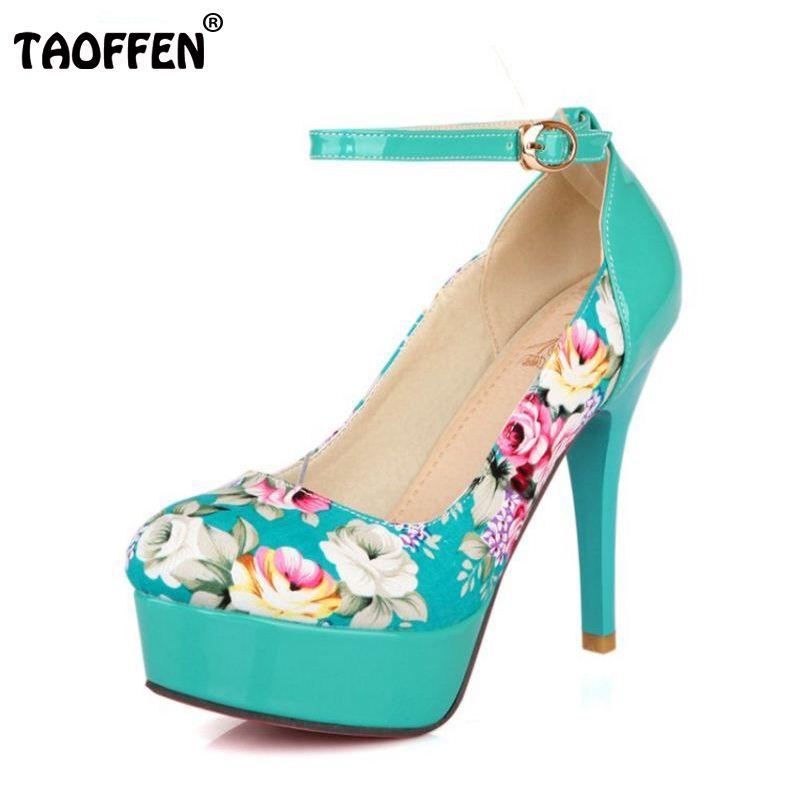 TAOFFEN Women Flower Print High Heels Platform Single Shoes Ultra Pumps Patchwork Evening Dress Shoes Ladies Footwear Size 32-42