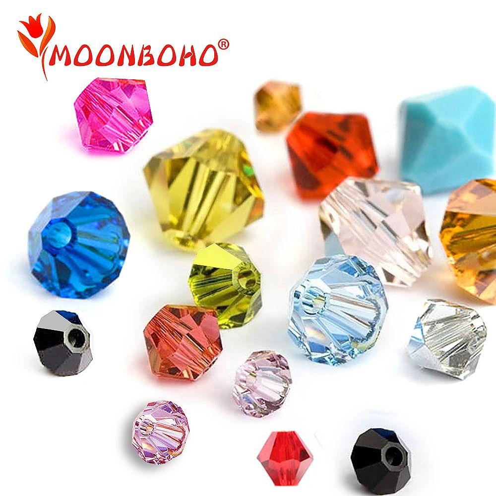 Perles de cristal Bicone 4mm 6mm perles de verre perles d'espacement en vrac bijoux à bricoler soi-même faisant des perles de cristal d'autriche