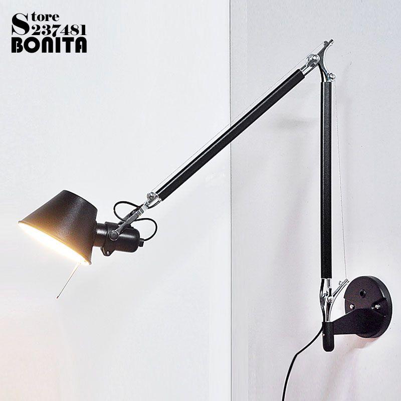 2 teile/satz Peeling Schwarz moderne Faltbare wand lampen lange schwinge Einstellbare Aluminium wandlampen lampen Teleskop wandleuchten Nacht
