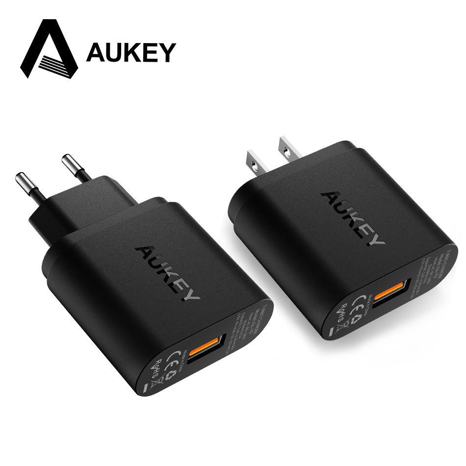 Pour Qualcomm Certifié AUKEY Charge Rapide 3.0 Smart USB Mur Chargeur pour Samsung Galaxy S8 7 HTC iPhone Xiaomi Mi5 6 & Plus L'UE/NOUS