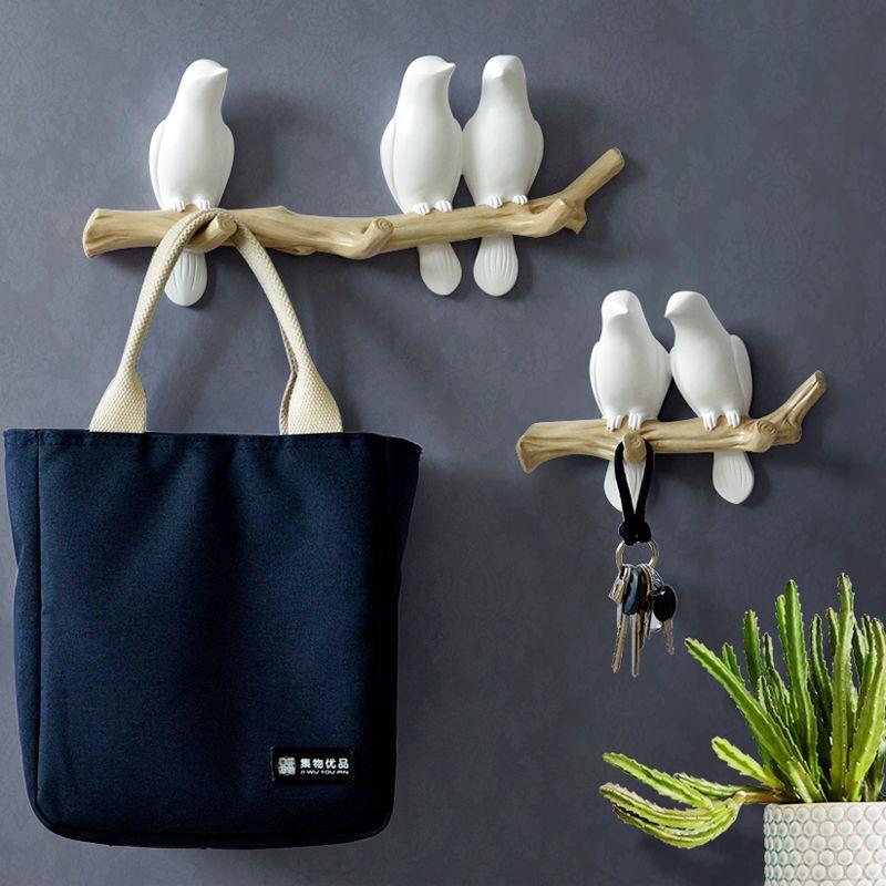 Décorations murales accessoires pour la maison salon cintre résine oiseau clé chambre cuisine manteau vêtements serviette crochets chapeau support de sac à main