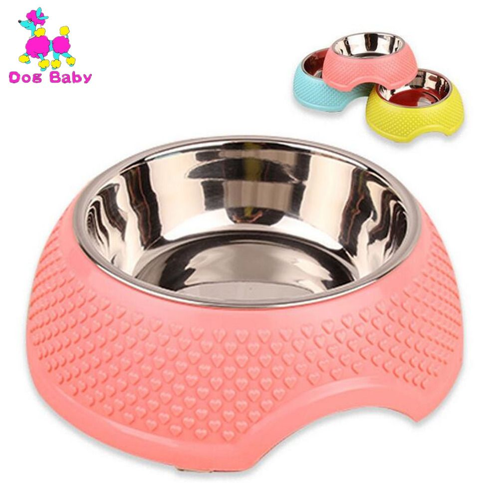 DOGBABY Gros Pet Bol Animal Vaisselle Avec de L'eau En Acier Inoxydable Joint Chien Bol Rose Jaune Bleu Avec Coeur Motif Chat bols