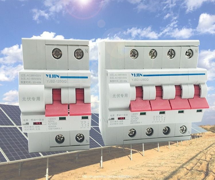 2P 1P+N 3P+N 4P 40A 63A 80A 100A PV self-recovery over-voltage and under-voltage automatic reclosing circuit breaker