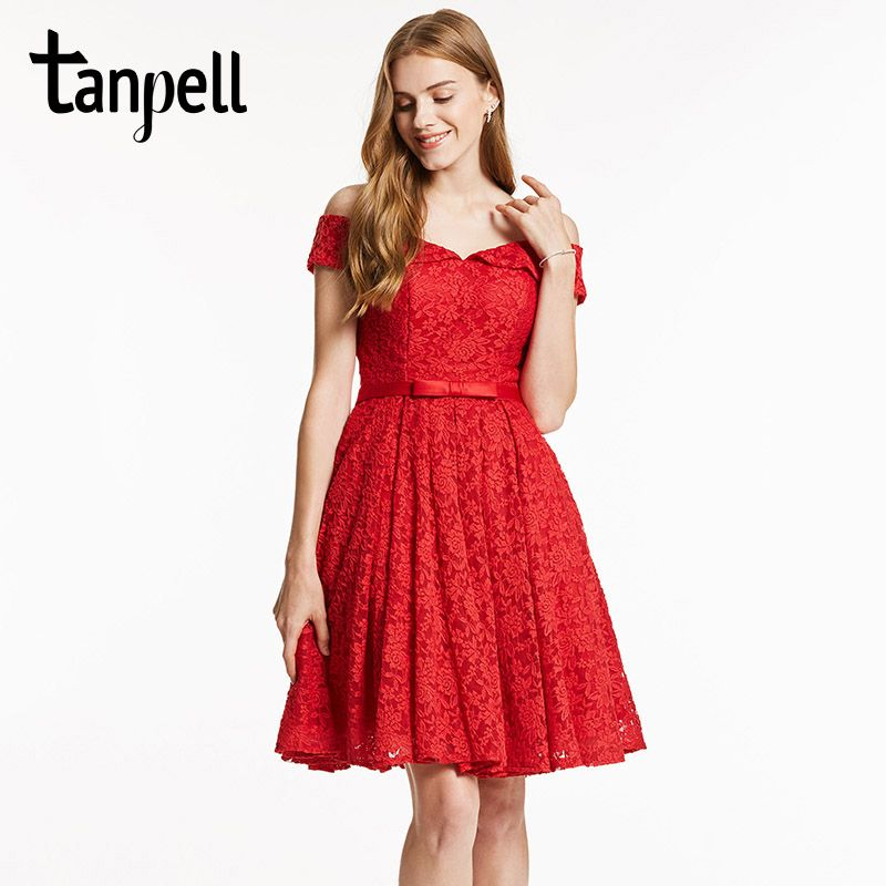 Tanpell off the shoulder cocktail dress elegant red a line knee length sashes dress lady homecoming short cocktail party dresses