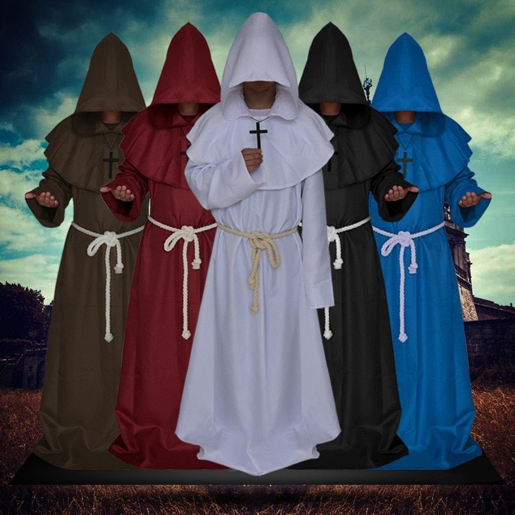 Halloween cosplay ancient costume medieval monk costume friar robe wizard costume priest costume Christian suit