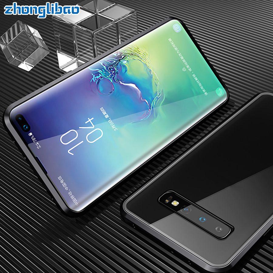 Luxus Doppel Glas Magnetische Metall Fall für Samsung S10 5G S9 S8 Plus Hinweis 9 8 A7 A9 2018 a50 A60 A70 A30 A80 2019 360 Volle Abdeckung