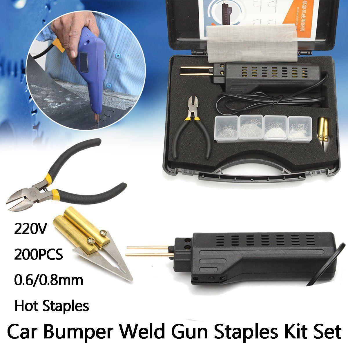 220-250V Hot Stapler Car Bumper Plastic Welding Torch Fairing Auto Body Tool Welder Machine 0.6/0.8mm + 200 Staples