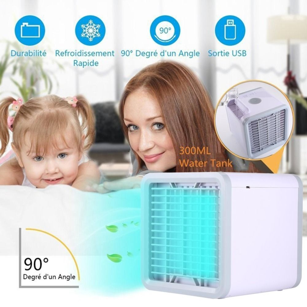 Air Conditioner USB Compact Size Powerful Handy Cooler Table Desktop Fan Cooler Air Conditioning Cooler Fan LED Office Home Gift