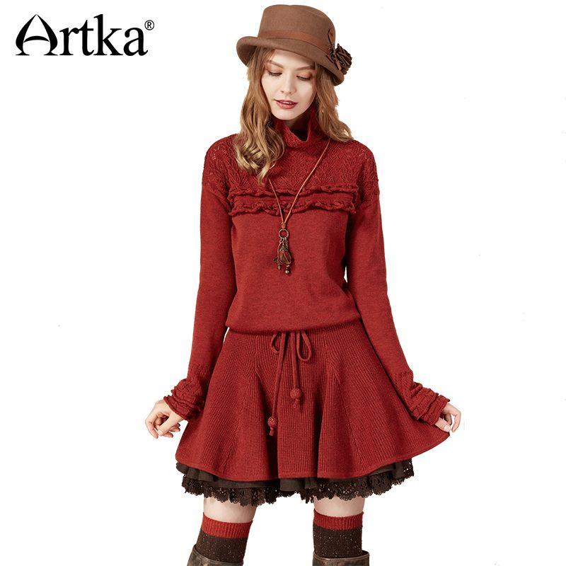 Artka Automne Robe Pull Pour Femmes 2018 Laine Pull Long Dentelle Pull Femme Coréenne Volants Chandail Tricoté Pull LB10275Q