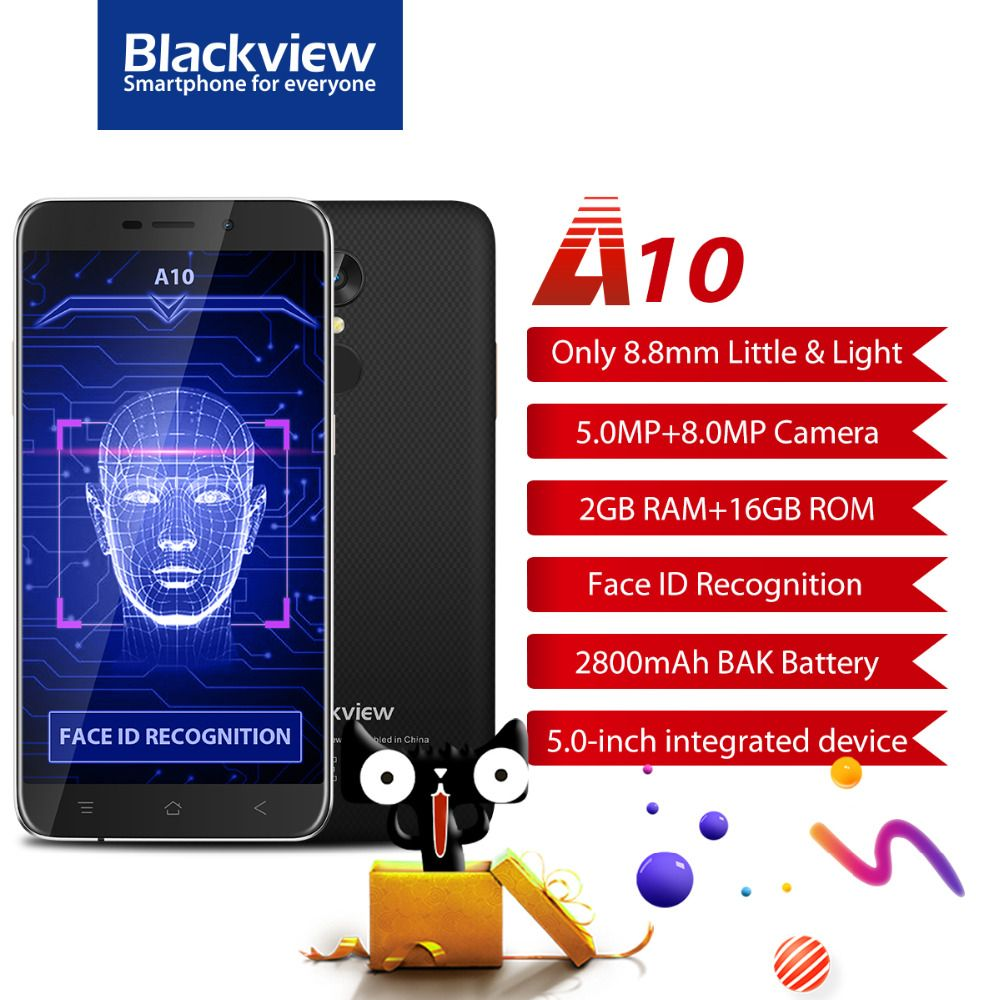 Blackview A10 Mobile Phone 5.0 Inch MTK6580A Quad Core Android 7.0 Smartphone 2GB RAM 16GB ROM 8.0MP Fingerprint ID Cell Phone