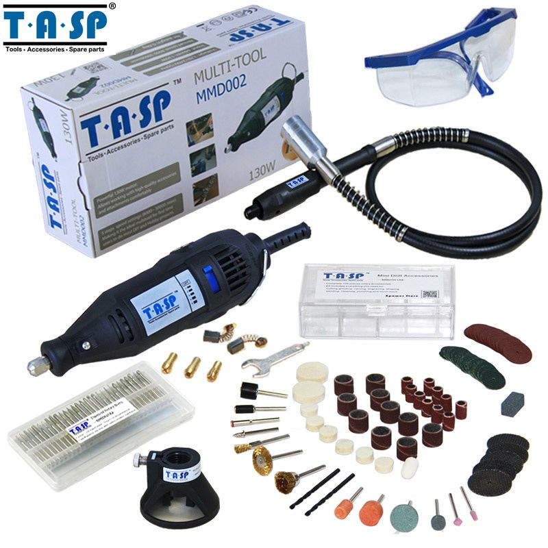 TASP 220V 130W Rotary Tool Set Electric Mini Drill Engraver with Flexible Shaft and 140 Accessories <font><b>Power</b></font> Tools