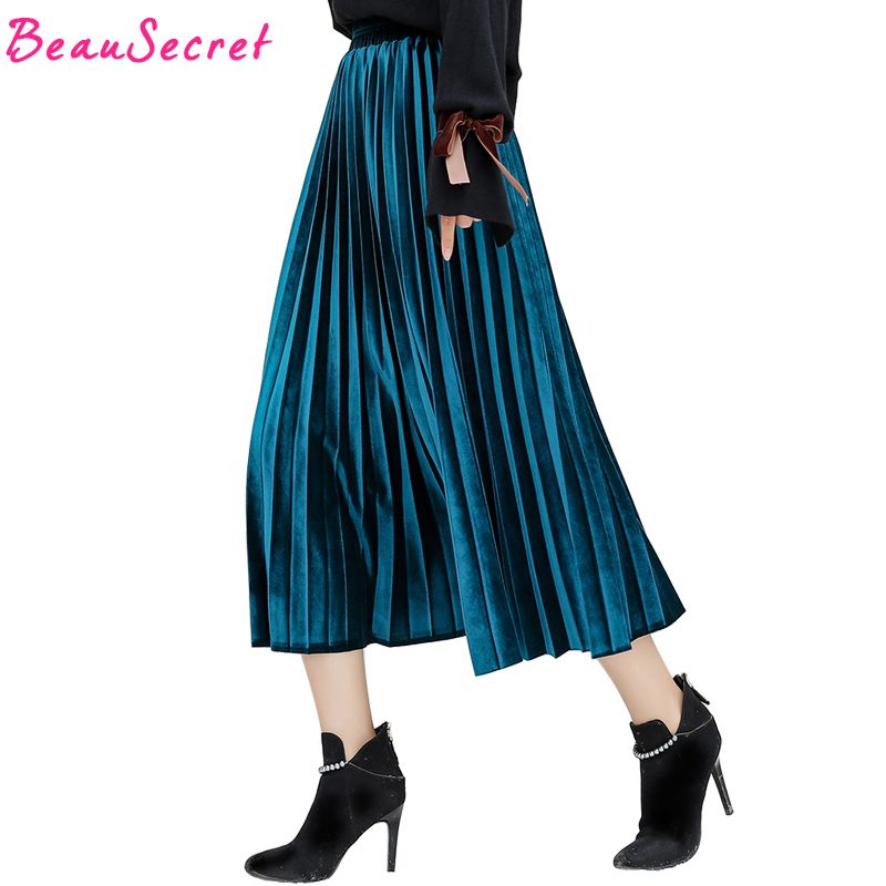 Velvet Long Skirt Women 2018 Autumn Winter Korean Style Casual High Waist Tutu Skirts Womens Pleated Skirt