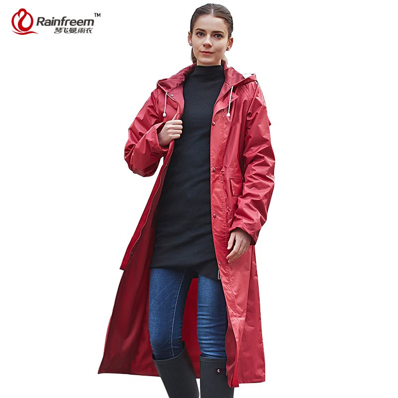 Rainfreem Impermeable Raincoat Women/Men Waterproof <font><b>Trench</b></font> Coat Poncho Double-layer Rain Coat Women Rainwear Rain Gear Poncho