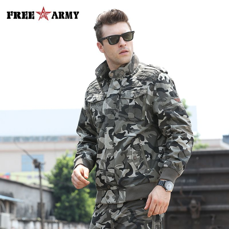 Mode armée vert vestes hommes vêtements militaires hommes Bomber vestes Camo veste mâle Designer vêtements jean pour hommes veste MS-6052
