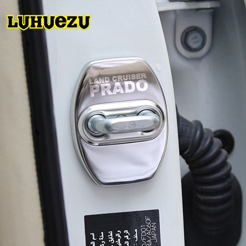 3 Colors S/S Car Door Lock Buckle Door Lock Protective Cover For Toyota Land <font><b>Cruiser</b></font> Prado FJ120 FJ150 Accessories 2003-2017