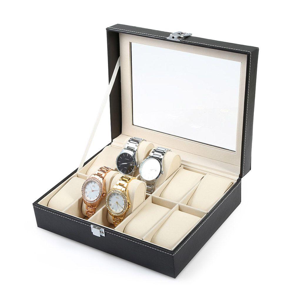 Professional 10 <font><b>Grid</b></font> Watch Box Luxury PU leather Wristwatch Box Display Jewelry Storage Organizer Watch Case Caixa Para Relogio