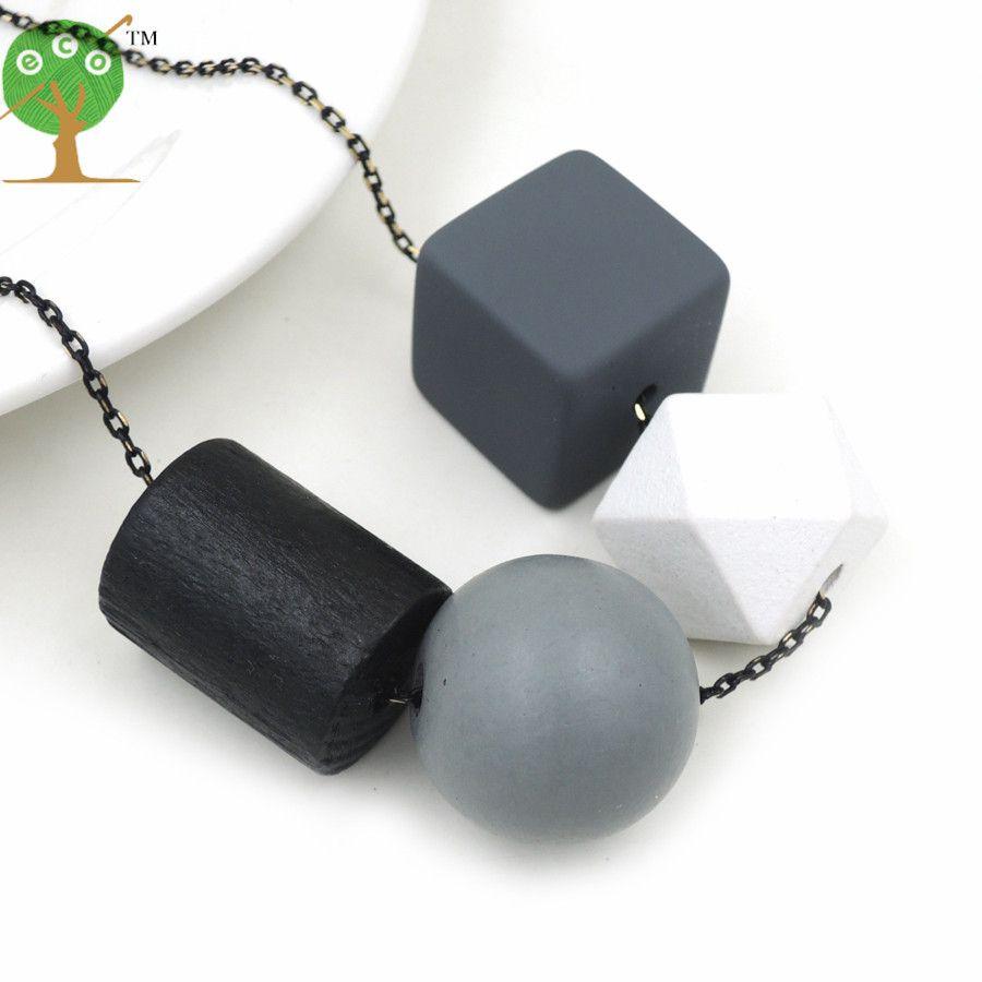 Геометрические деревянные Цепочки и ожерелья подвеска кластера цепи современные племенных Chic мяч заявление серый, черный цвет белый nw202
