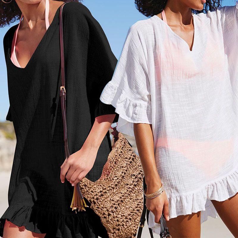 SPORLIKE 2018 Neue Strand vertuschen Chiffon Solide Bademode Damen Spaziergang am Strand Sexy Beach Cover up Saida de Praia Beach tragen