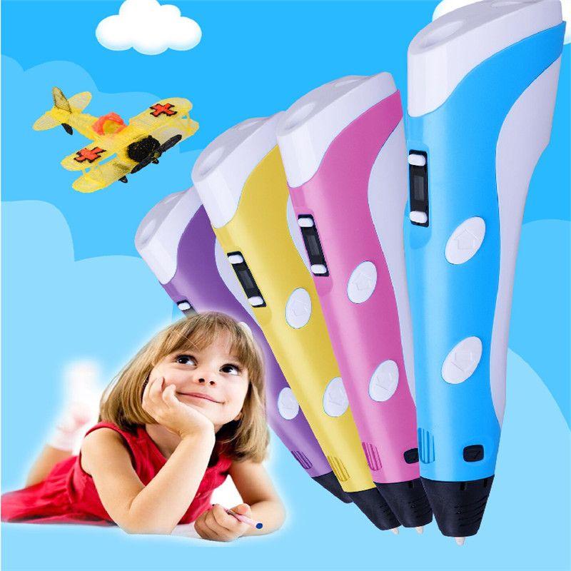 1.75mm ABS/PLA DIY 3D Impression Stylo LED Écran 3D Stylo peinture Stylo + 3 couleurs Filament Creative Jouet Cadeau Pour Les Enfants Conception dessin