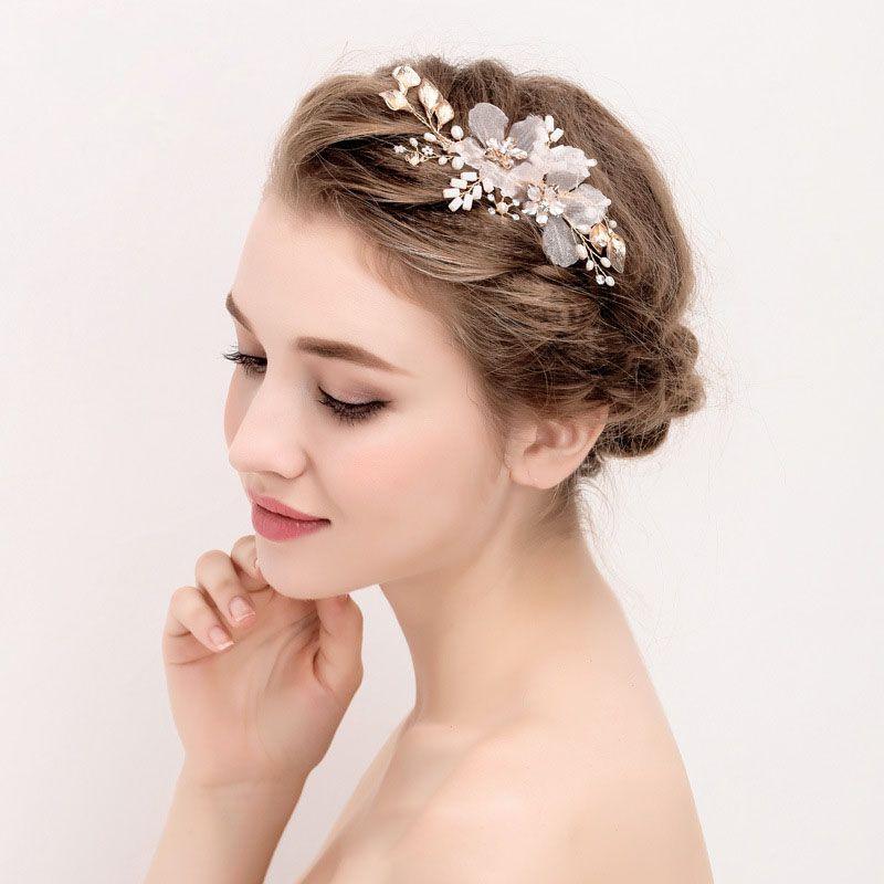 Barrette à cheveux de mariée en or fleur feuille cristal perles d'eau douce pince à cheveux de mariage bandeau de mariée accessoires de cheveux femmes bijoux