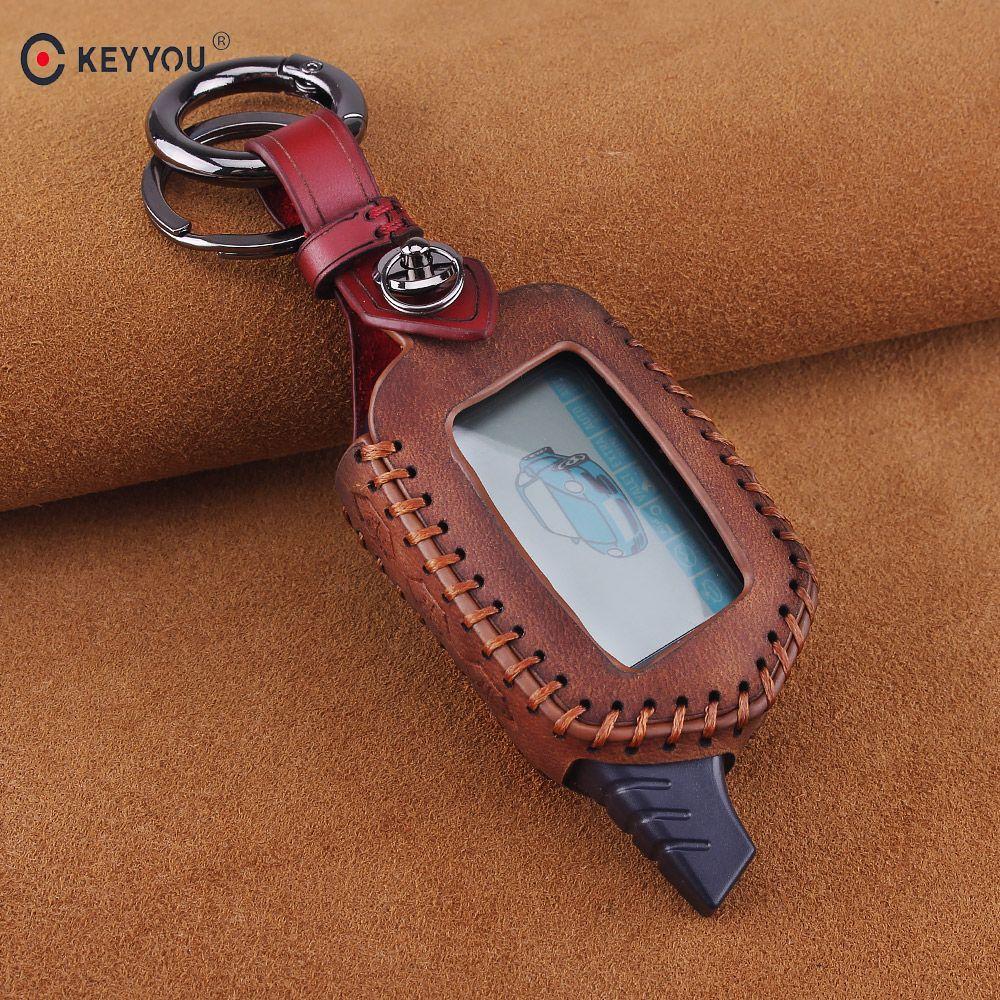 KEYYOU 3 Button Leather Case Cover B9/B6 Fob For Starline B9 B6 A91 A61 LCD Key Case 2 Way Car Alarm System keychain Car-styling