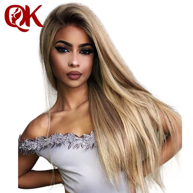 QueenKing hair Full Lace Wig 150% Density Lemi Color T4/27/613 Ombre Color Wigs Silky Straight 100% Brazilian Human Remy Hair