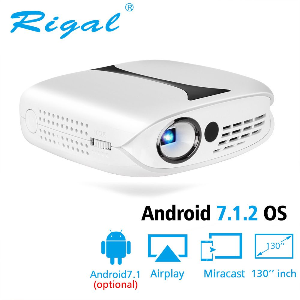 Rigal RD606 Mini LED DLP Projector Optional HD WiFi Android 7.1 Pocket Pico Projector Battery Support 1080P 3D Phone USB Beamer