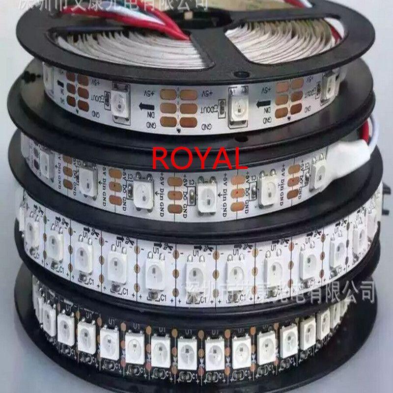 WS2812B Smart RGB LED Pixel Strip 1m/4m/5m Black/White PCB 30/60/144 leds/m WS2812 IC , 30/60/144leds/m pixels IP20 IP67 DC5V