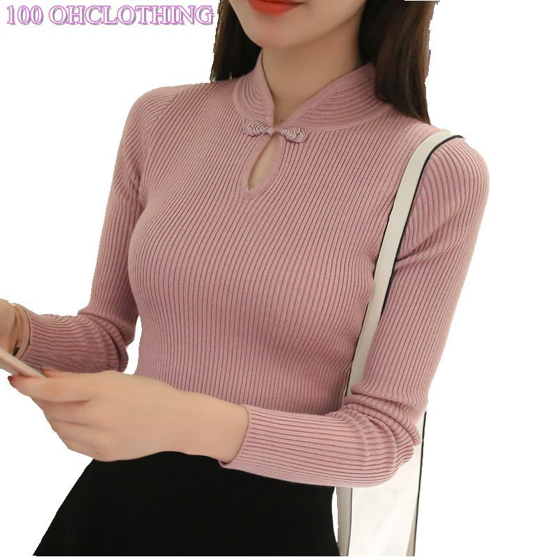 OHCLOTHING Hot 2018 Winter New Fashion Thickened half turtleneck sweater <font><b>short</b></font> female thread tight all-match solid new shirt