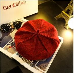 2018 franTui, The autumn winter British wool bud cap female painter Korean black Newsboy Hat pumpkin star Bailey