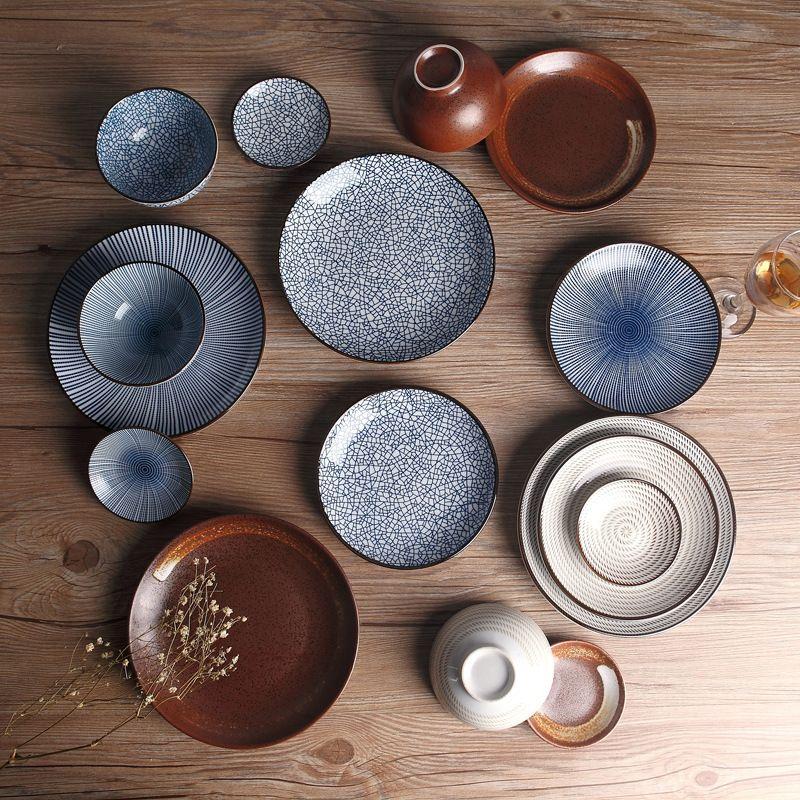 Assiettes à dîner en céramique de Style traditionnel japonais assiettes en porcelaine assiette à soucoupe assiette à Sushi assiette à riz
