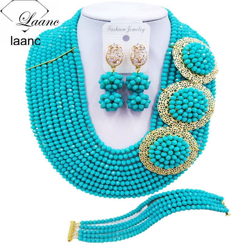 Brand Laanc Aqua Blue Nigerian Wedding African Beads Jewelry Set Crystal Brides Bridesmaid Bridal Jewelry Sets 10R3H001