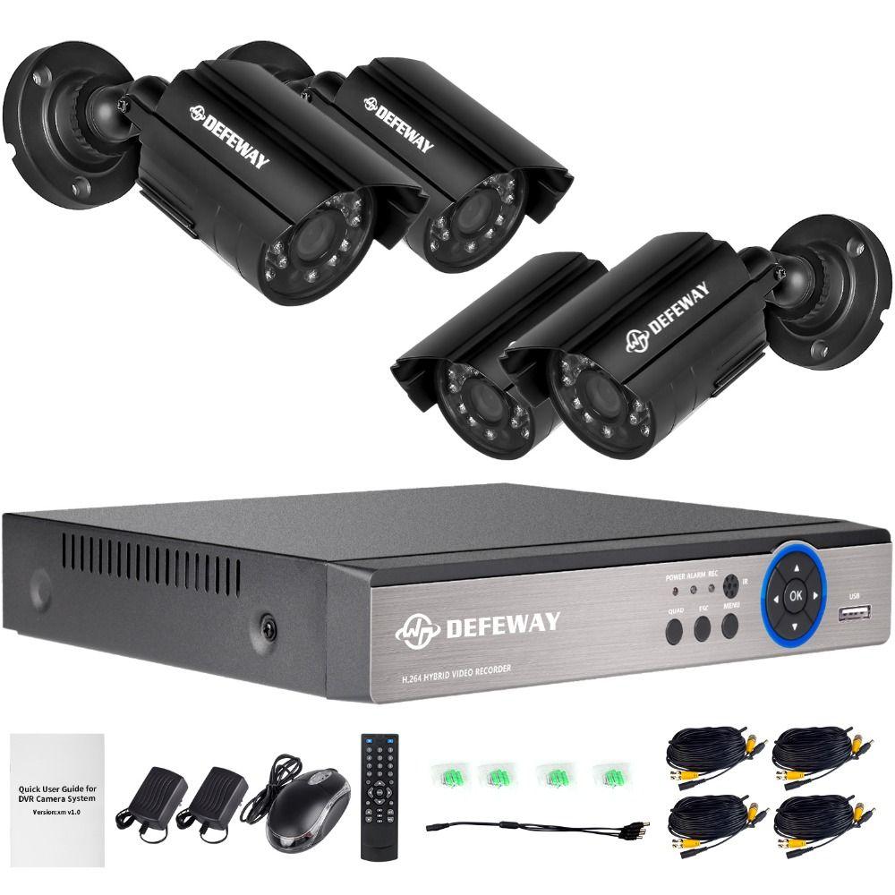 DEFEWAY 4CH 1080P Output Onvif DVR Waterproof 1200TVL Night Vision Camera CCTV System Surveillance Kits With 4 720P Cameras