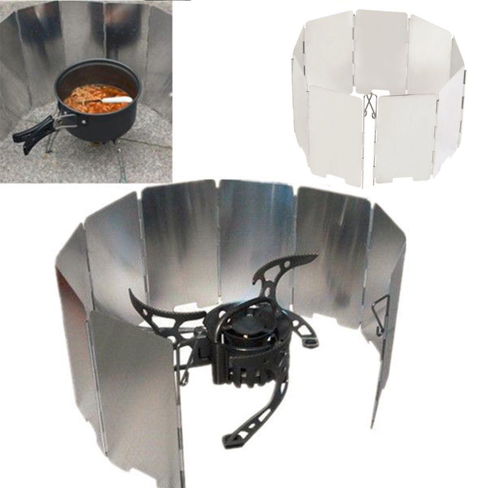 Faltbare Mini 9 Platten Herd BBQ Gasherd Wind-schild-schirm Picknick Im Freien Heißer Verkauf