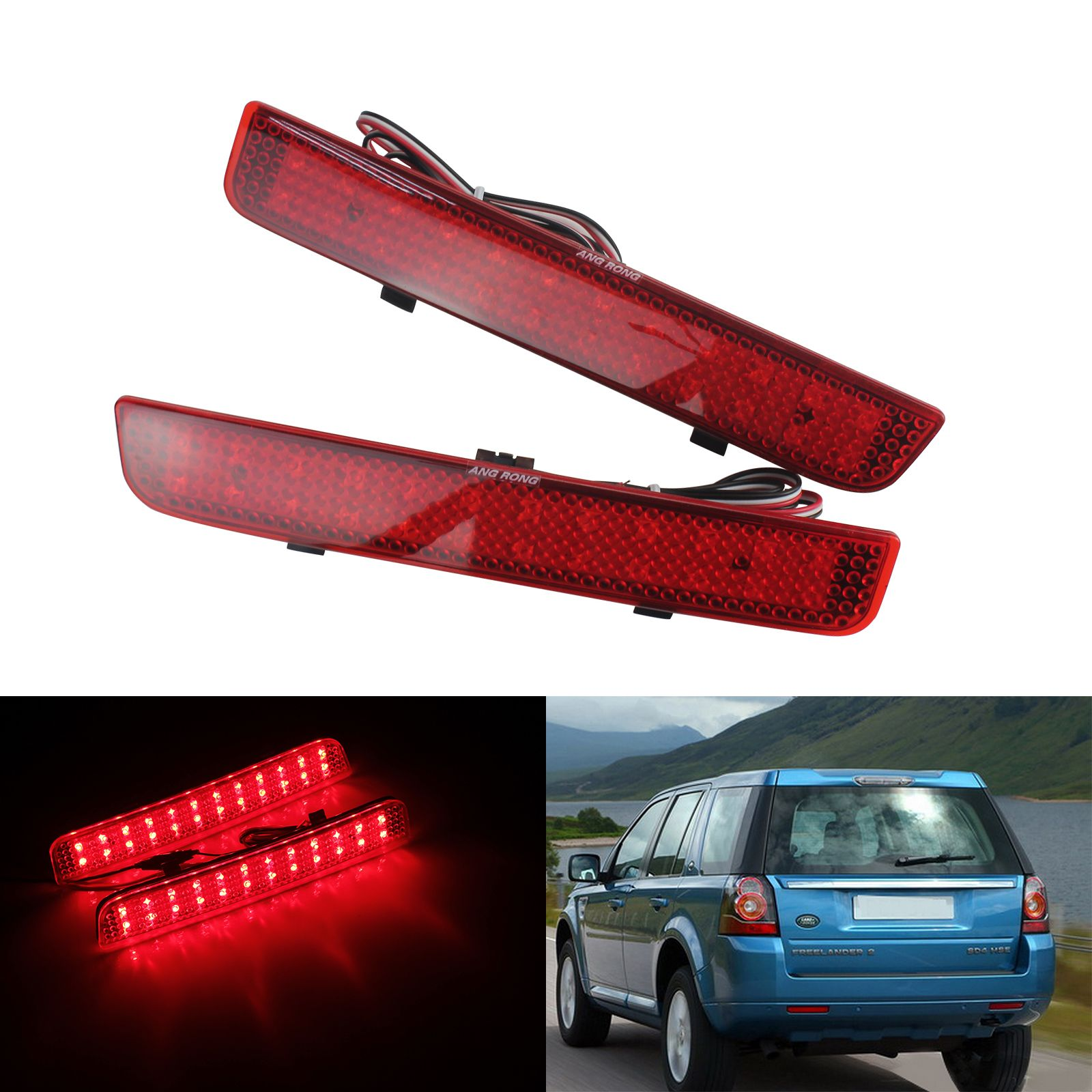 ANGRONG ROTE LED Für Range Rover L322 Freelander 2 LR2 Stoßstange Reflektor Bremse Reverse Licht