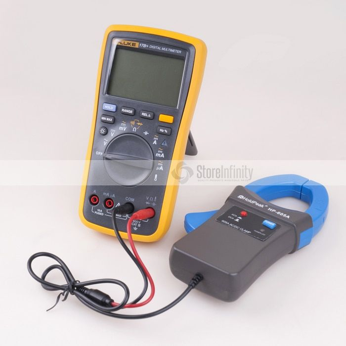 Fluke 17B+ PLUS Digital Multimeter (Backlit) + Holdpeak HP-605A Clamp Adapter 600A AC/DC Current