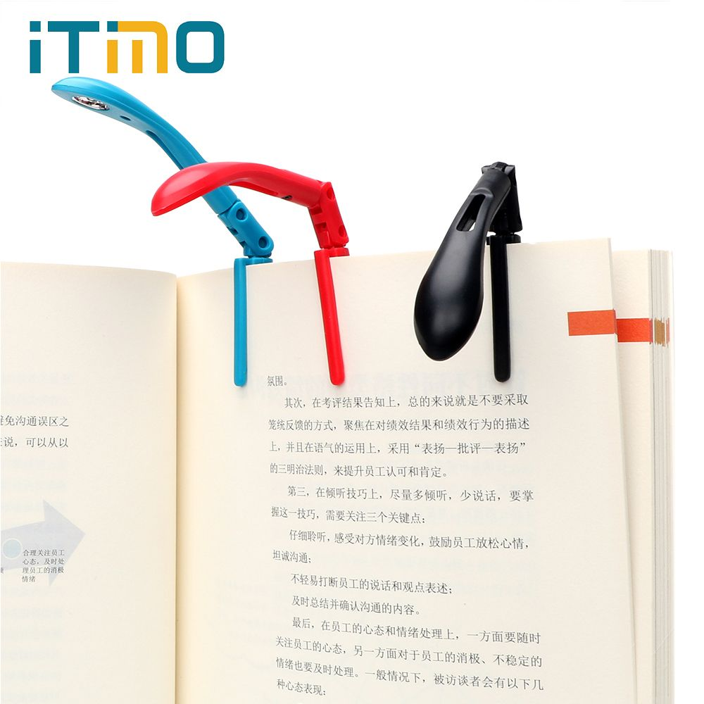 ITimo Clip-on Book Reading Lamp with Battery Folding LED Book Lights For Reader Kindle Adjustable Flexible