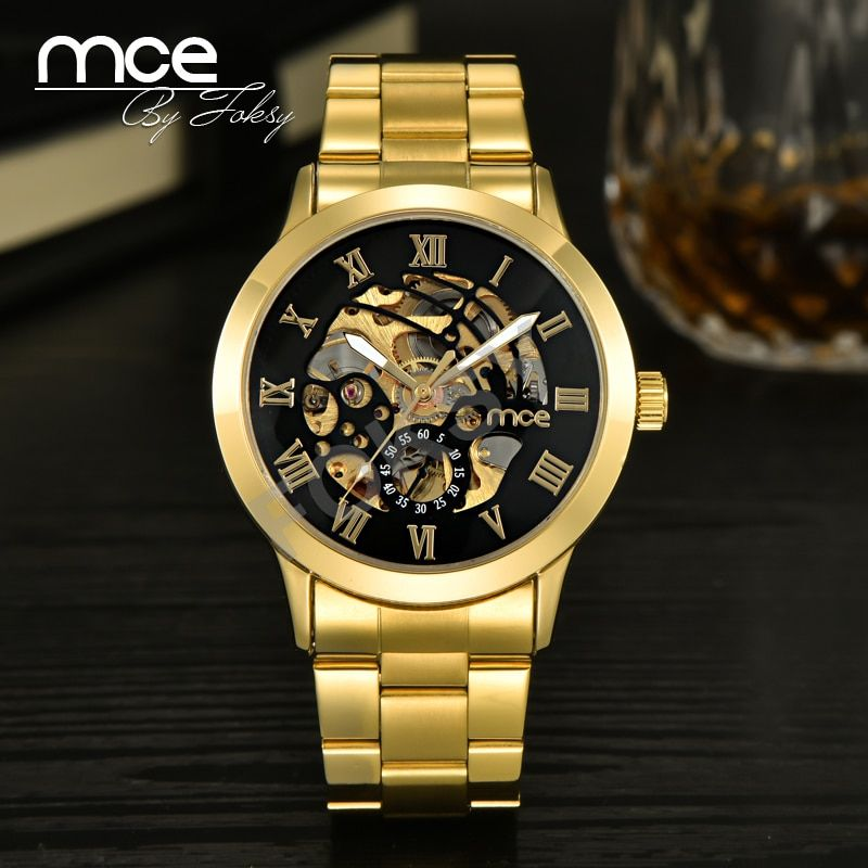 2018 new MCE brand Automatic Mechanical Watches for men luxury fashion Gold Roman Numeral Watch Casual Stainless Steel clock 331