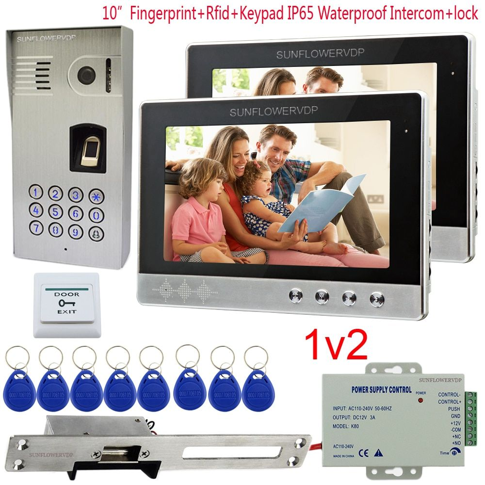 IP65 Waterproof Video Intercom 2 Apartment Fingerprint Rfid Code Camera For Doorphone 10