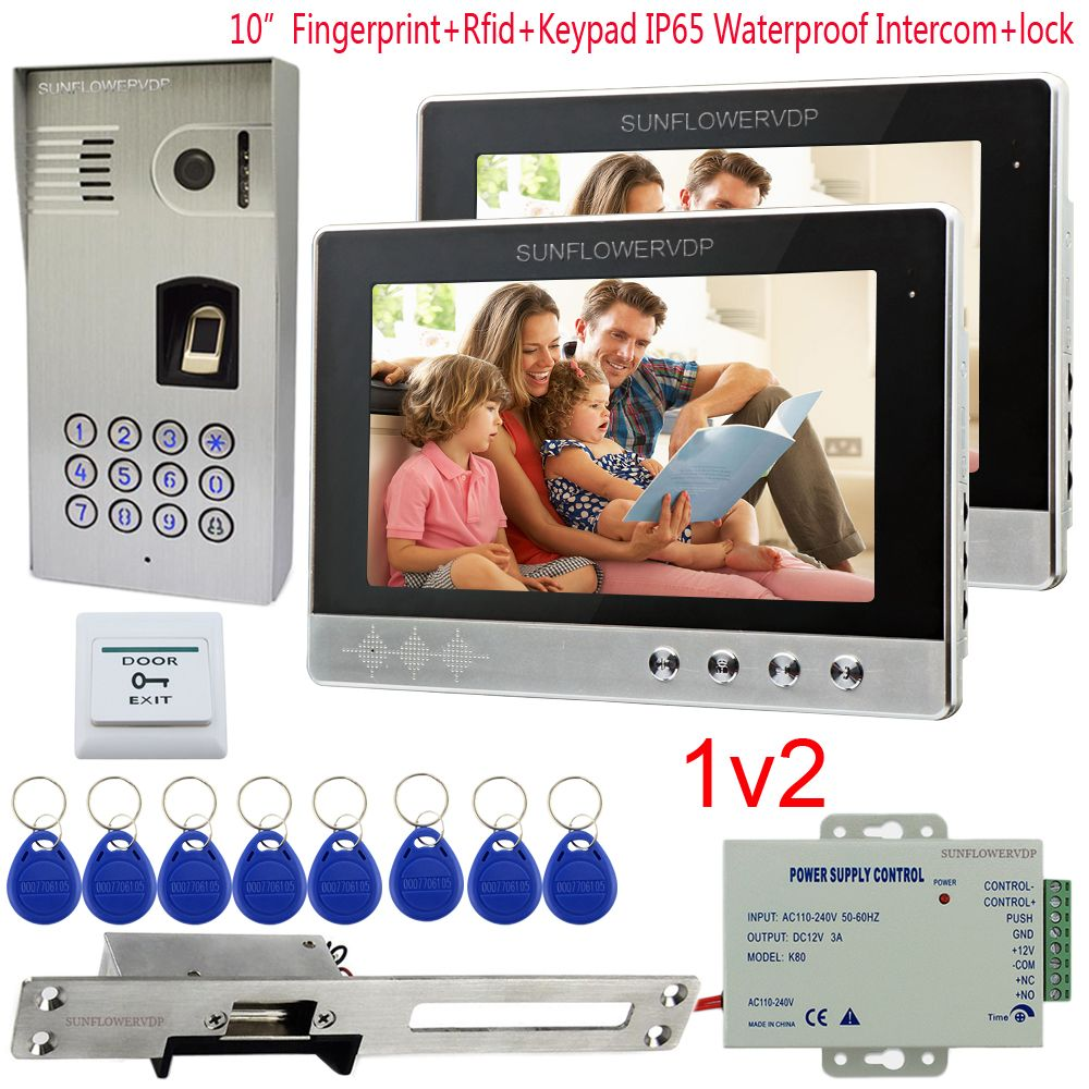 IP65 Waterproof Video Intercom 2 Apartment Fingerprint Rfid Code Camera For Doorphone 10