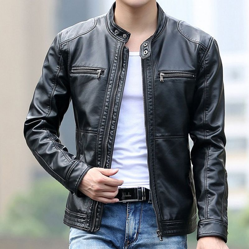 Leather jacket men fashion stand collar pilot sheepskin coat male motorcycle leather jackets jaqueta de couro Brand Clothing