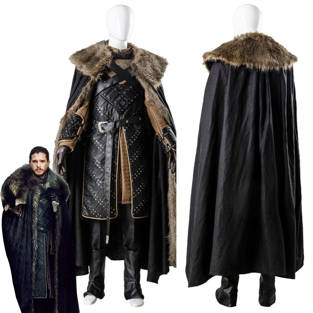 Game Of Thrones Season 7 Jon Snow Cosplay Costume Man's Battle Suit for Adult Men Halloween Party Costumes