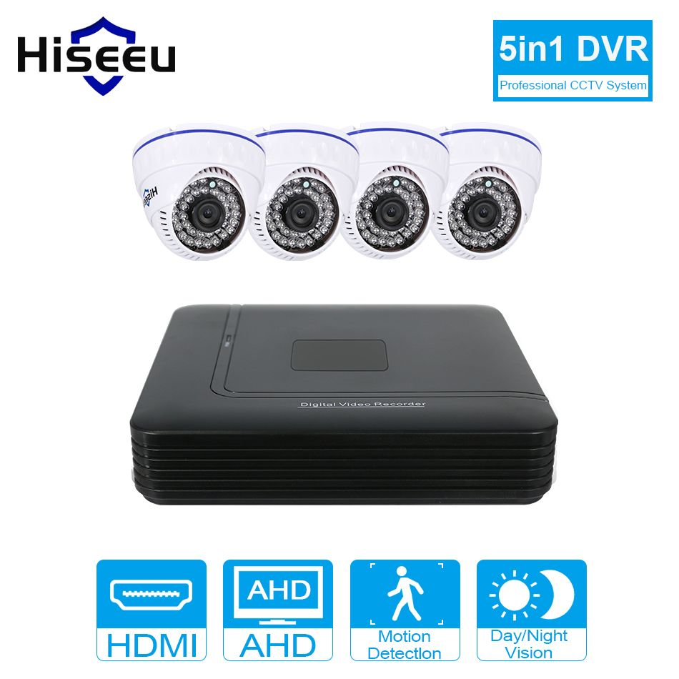 CCTV Camera DVR System AHD 720P Kit Optional 2/4 Channel CCTV DVR HVR NVR 3 in 1 Video Recorder Infrared Dome Camera Security