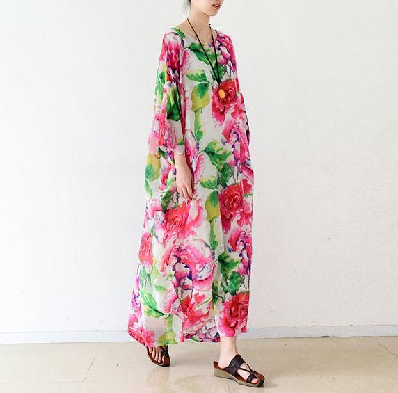 Nouveauté 2016 plus belle robe en lin de coton imprimé floral, style élégant grande taille femmes robe #359