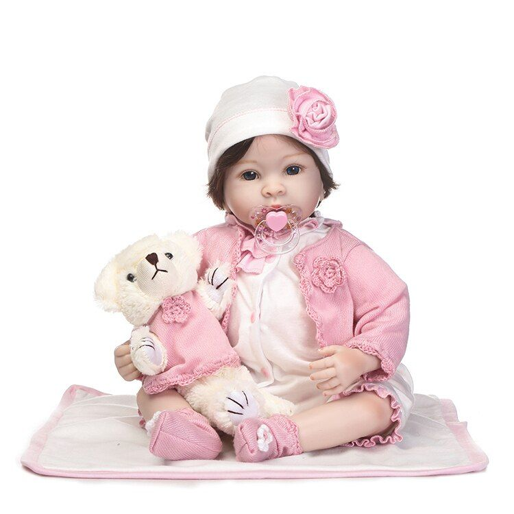 55cm Silicone Reborn Baby Doll Toys Simulation 22'' Vinyl Princess Toddler Dolls With Bear Girls Birthday Gift Fashion Present